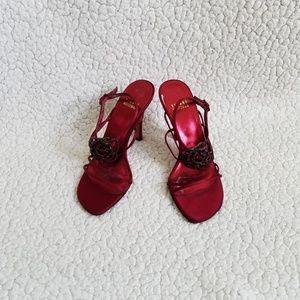 Stuart Weitzman Red Jeweled Satin Strappy Heels 6M